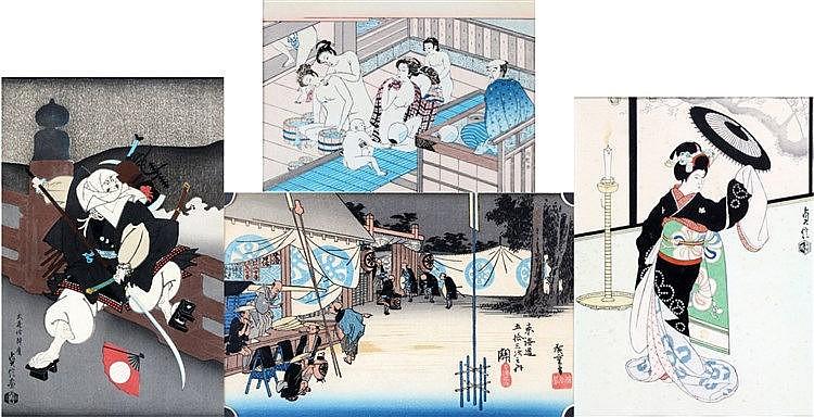 Four diverse Japanese woodcuts of a geisha, a samurai warrior, a
