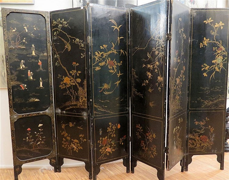A Chinese six-fold screen, inlaid in stained bone, wood and soa
