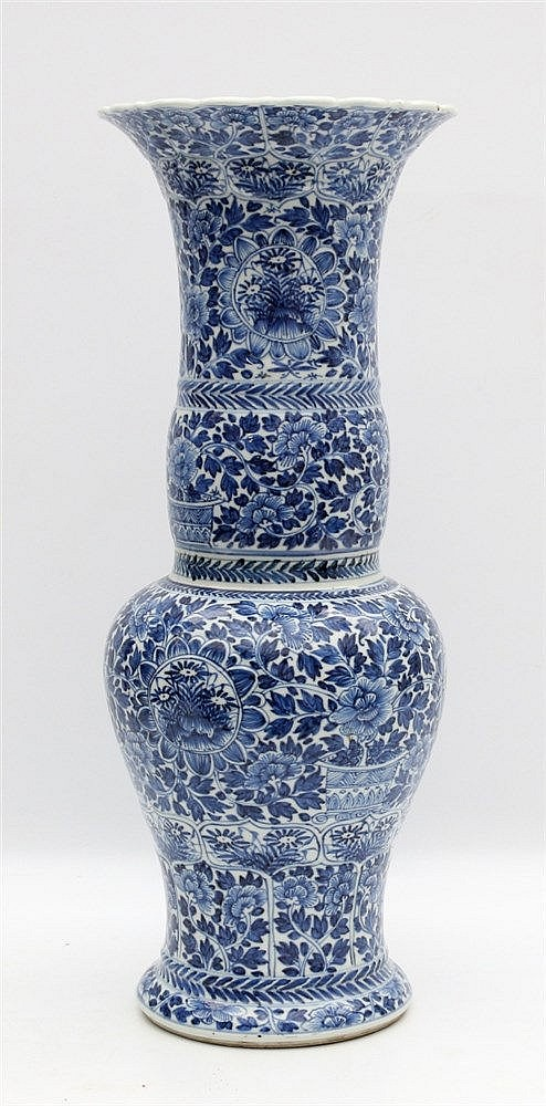 A Chinese blue and white phoenix tail vase, decorated with flowe