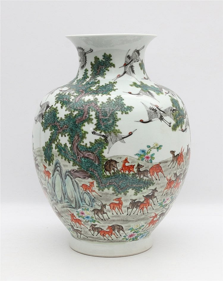 A Chinese famille rose 'hundred deer' vase decorated with flecke
