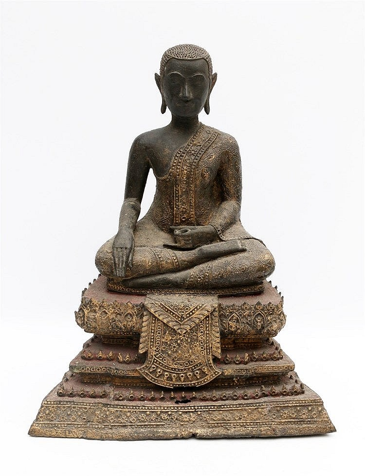 A Thai bronze sculpture of Buddha seated on a throne, in the Rat