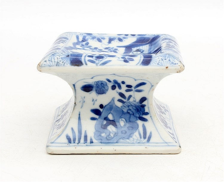 A Chinese blue and white square salt cellar, modelled after a Eu