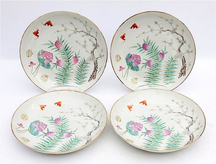 A set of four Chinese famille rose plated decorated with a pair