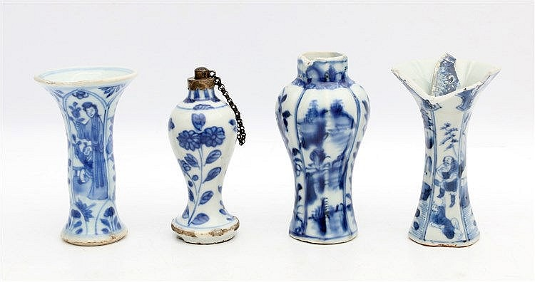 Four Chinese blue and white miniature vases, one with silver mou