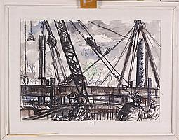 Een aquarel, Jan Makkes. Heistelling te Rotterdam
