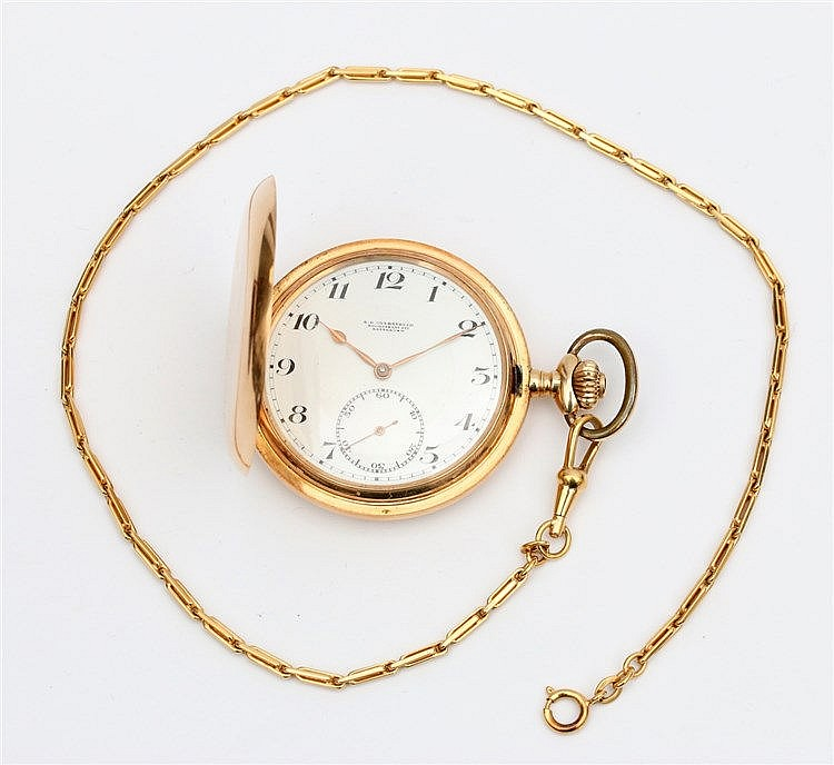 14 krt Yellow gold pocket watch, hunting case. With 14 krt gold