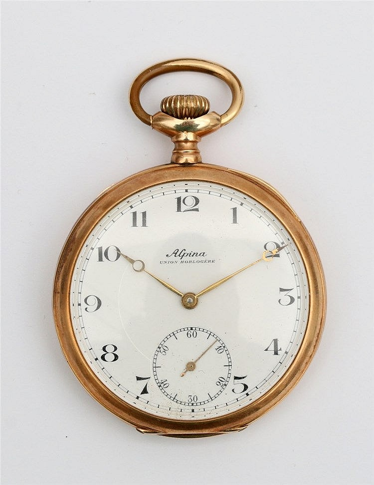Gold pocket watch, Alpina. Yellow gold, 14 krt. Diameter 48 mm.