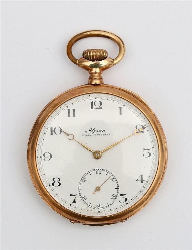 Gold pocket watch, Alpina. Yellow gold, 14 krt. Diameter 48 mm.