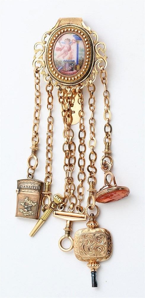 Gold Chatelaine. 18 krt yellow gold. Suspending: Three coloured