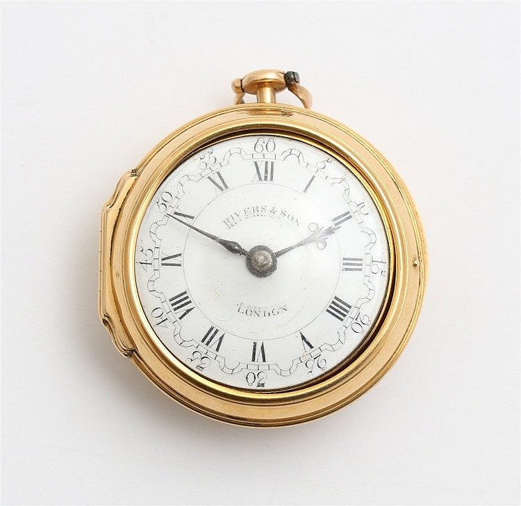 Twin cased gold verge pocket watch by Rivers & Son, London, 18t