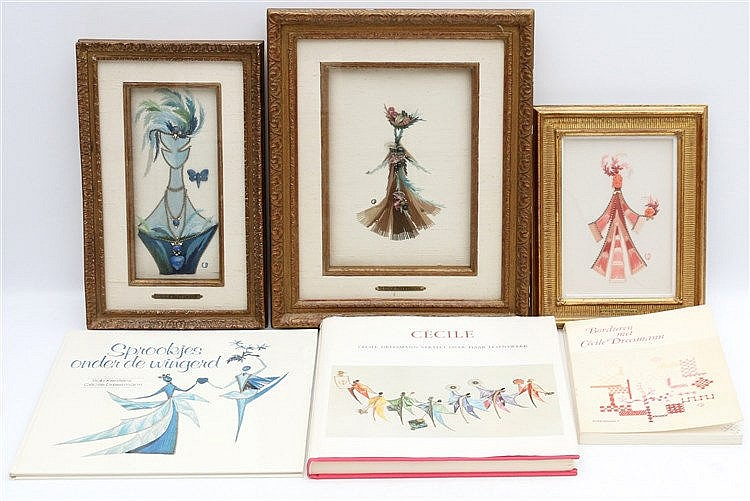 Cécile Dreesman (1920-1994) Three gem set embroidery works by Céc