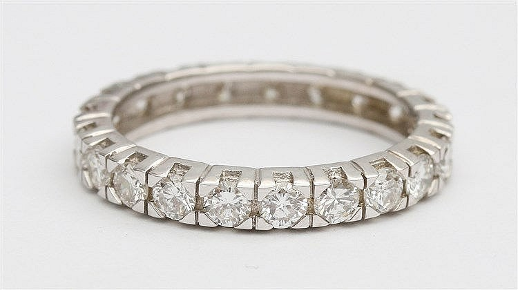 Diamond set 14 krt white gold eternity ring.  Total diamond we