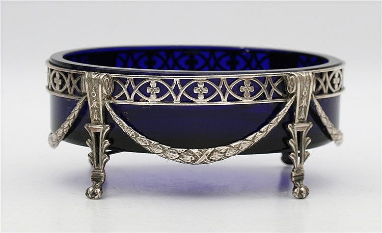 Silver jardinière and blue glass liner by Gerardus School, Amste
