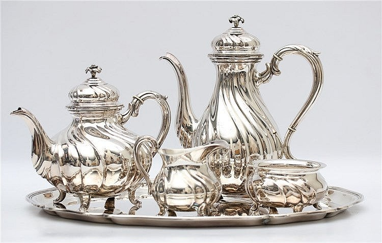 Sterling silver tea and coffee service on silver tray by Wilkins