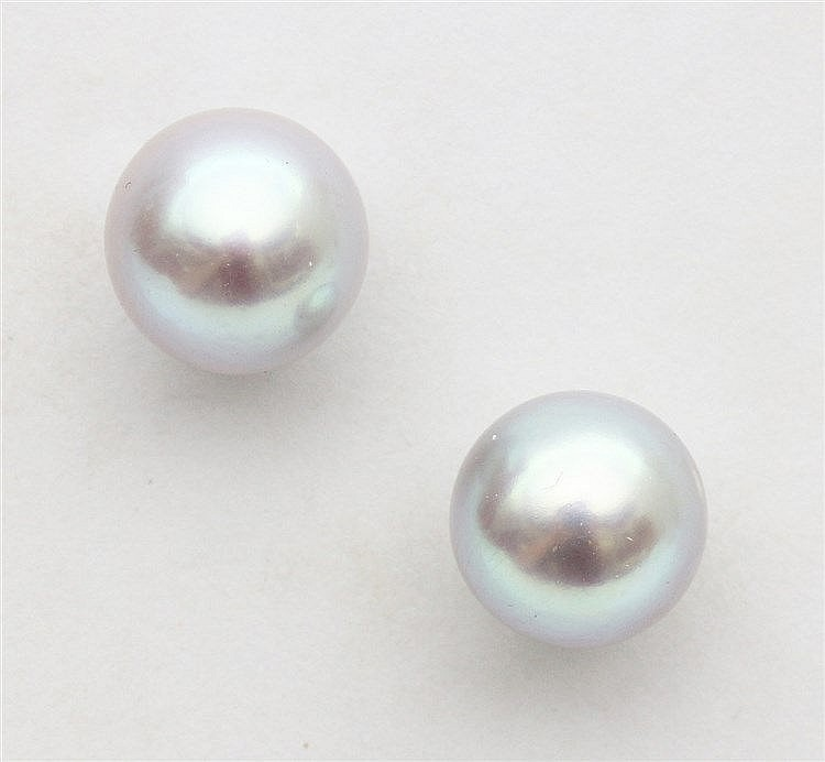 Pair of 14 krt yellow gold and pearl earstuds. Pinkish grey sa