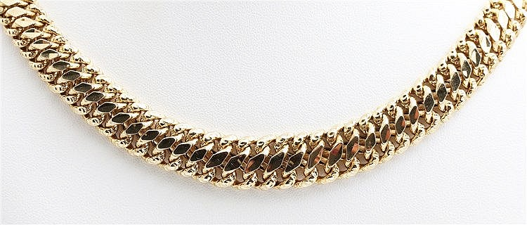 A 14 krt yellow gold necklace, 7-14 mm. Weight 40.3 gram. Leng