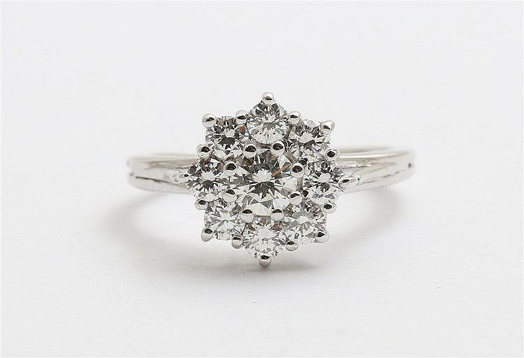 White gold, diamond set cluster ring.  Total diamond weight ap