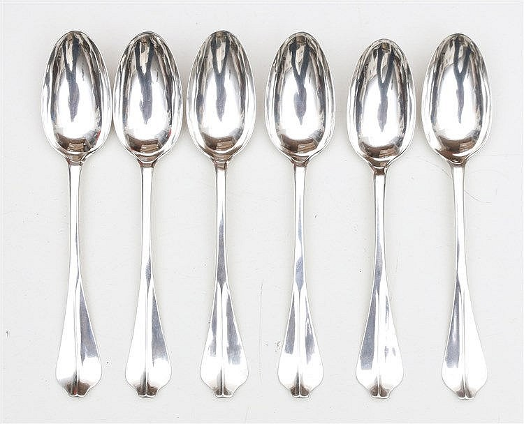 Six silver table spoons by Balthasar Levit, Rotterdam, 1791. Len