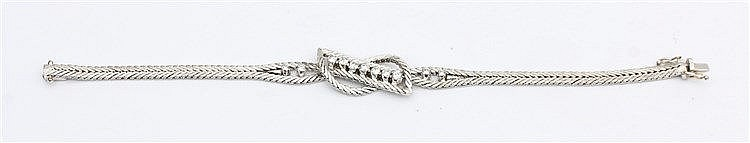 Diamond set white gold bracelet. Total weight 18 krt white gold