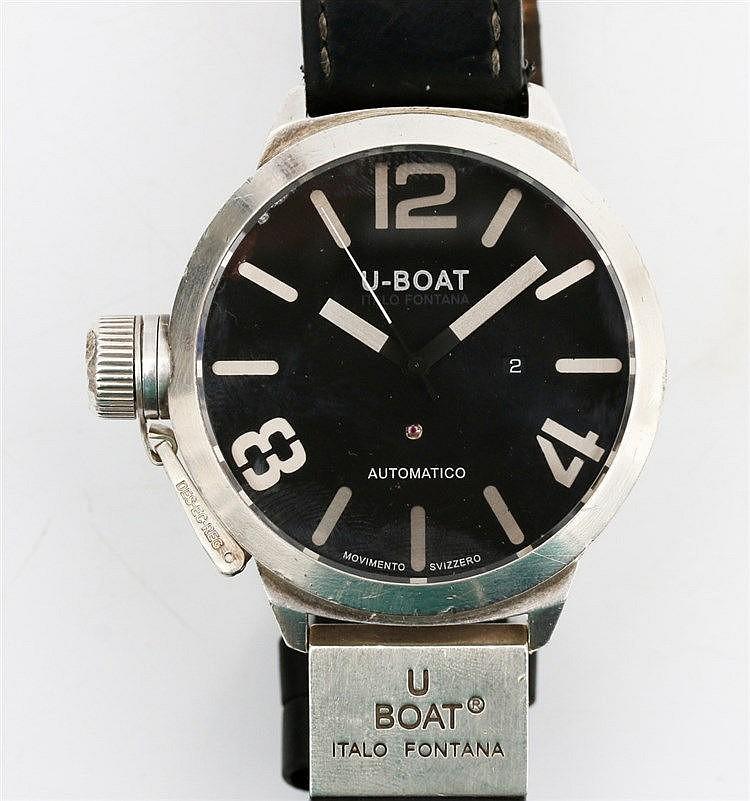 Silver watch by U-Boat Fontana, Classico Automatico. Black dial