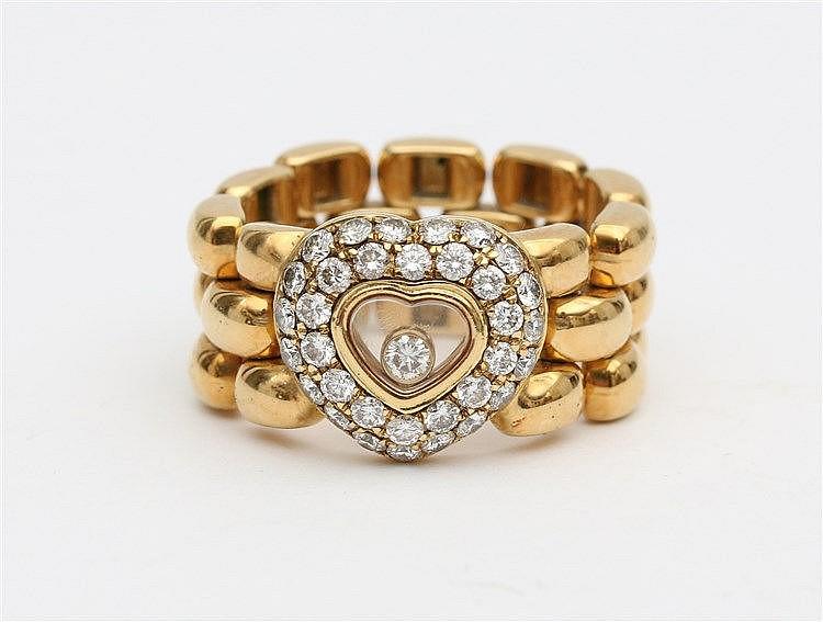 Chopard Happy Diamonds ring. 18 krt yellow gold set with diamond