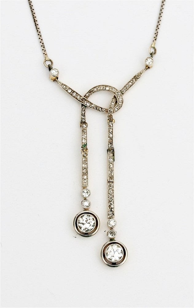 Early 20th century diamond set negligé pendant and necklace. Wh