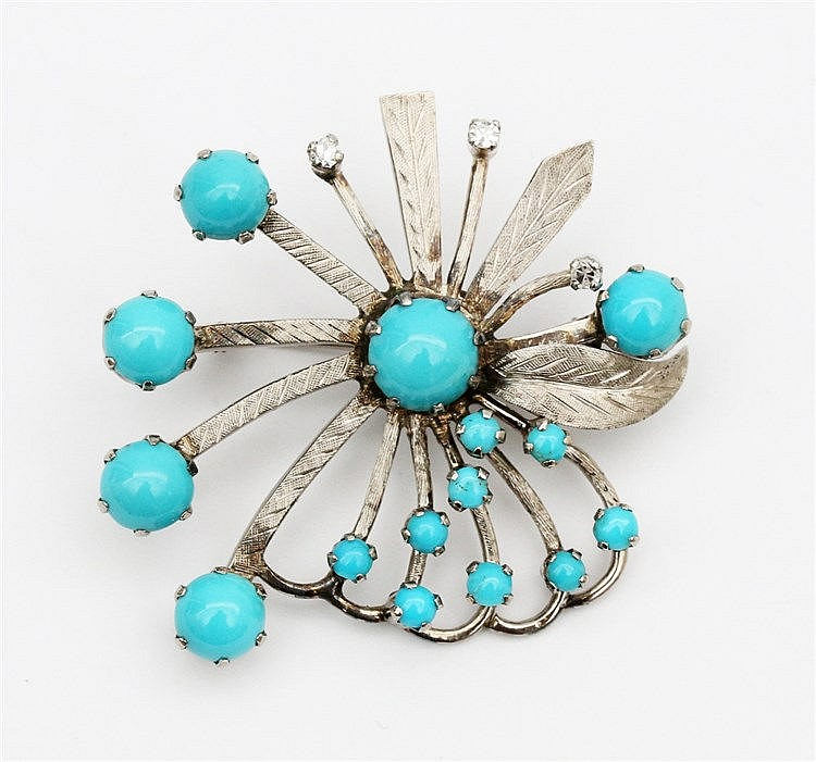 Gem set white gold brooch. Turquois and diamond set. Diameter