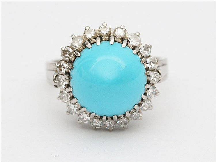 Whitegold ring set with diamonds and a turquois.  Ringmaat 17.