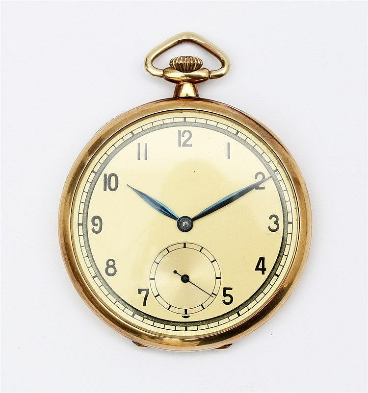 Yellow gold pocketwatch, 14 krt. Diameter 47 mm.
