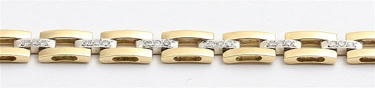 Diamond set 18 krt gold bracelet, from Montpellier. White and ye