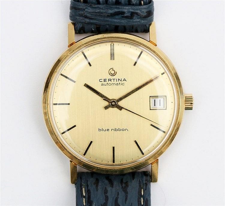 Yellow gold wrist watch, Certina Automatic Blue Ribbon, 1970's.