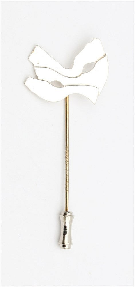 Silver pin by Anneke Schat, Dutch jewellery artist. Theme Sign