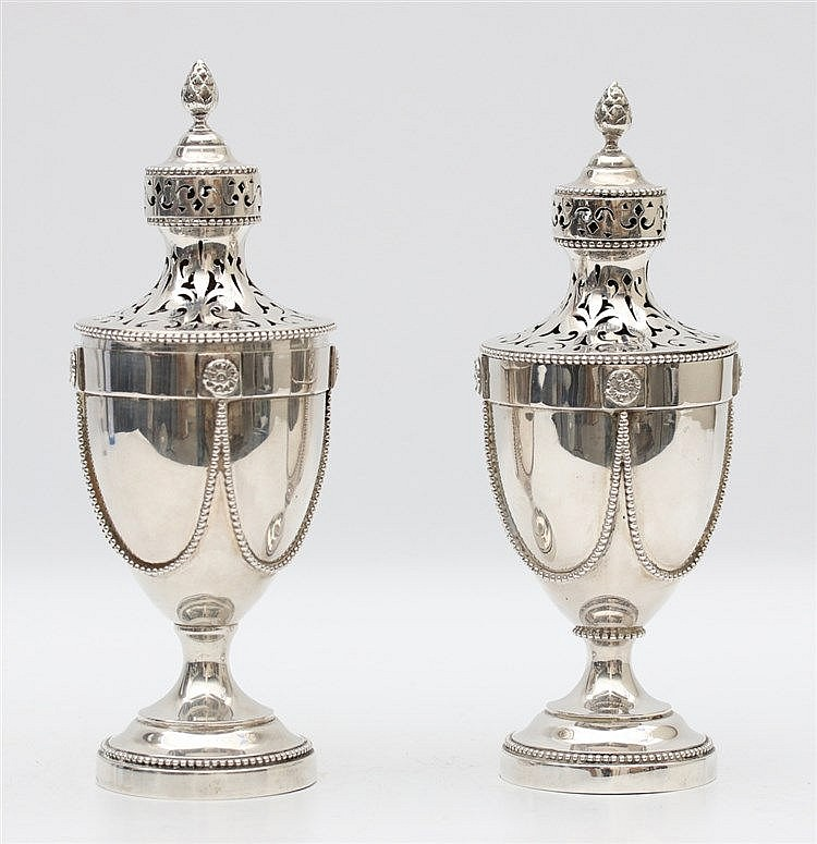 Pair of silver casters by Van Kempen & Zn., Voorschoten, 1906.