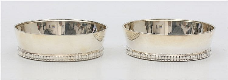 Pair of sterling silver coasters by Wilhelm Binder, Schwäbisch G
