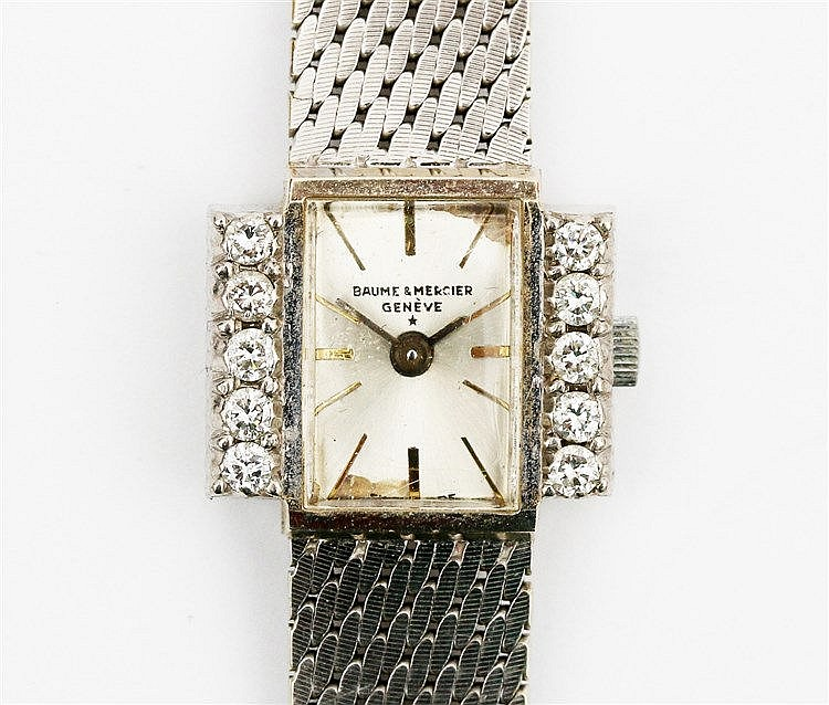 18 krt White gold Baume & Mercier ladies bracelet watch. Set wi