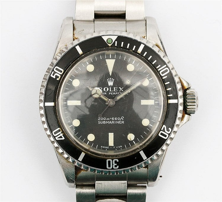 A steel watch, Rolex Submariner, Ref. No. 5513. Case no. 1565186