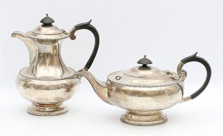 Silver teapot and milk jar by Walker & Hall, Sheffield, 1934 an