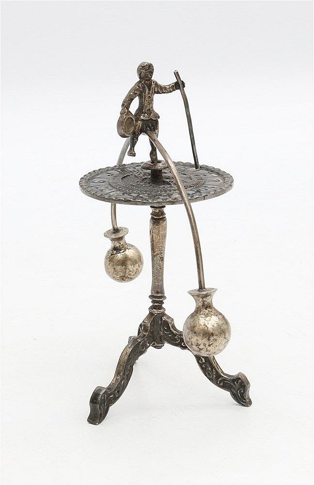 Silver miniature, balance toll, Dutch 19th century.