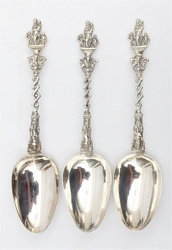 Three silver presentation spoons with Charitas-figure. Datemarks