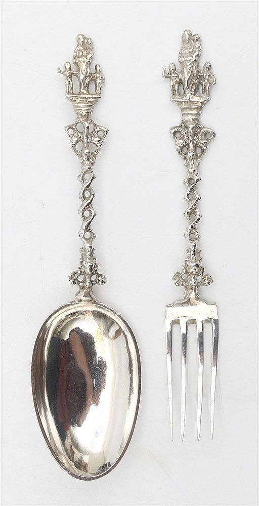 Silver presentation spoon and fork. Amsterdam 18th century hallm