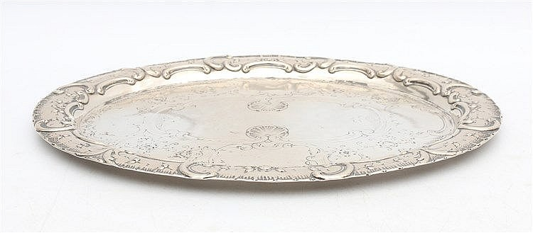 Silver tray. Mastermark Crowned SR, Germany. Afmeting 24 x 19 cm