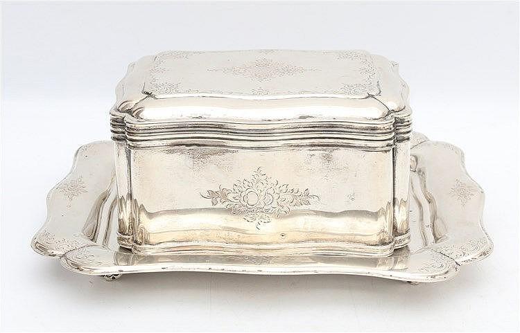Silver rectangular box on tray by Gebr. Roelofs, Amsterdam, 1862