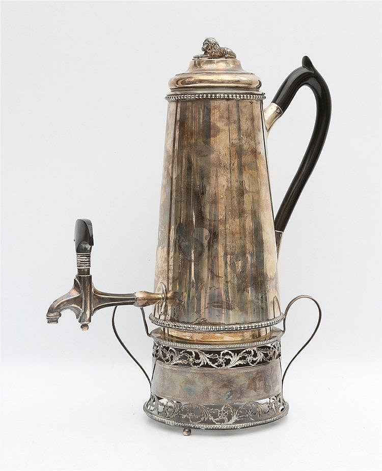 Silver coffee pot on stand by Jacobus Carrenhoff, Amsterdam, 182