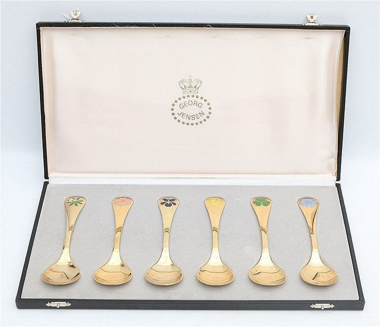 Six silver gilt Georg Jensen Christmas spoons, 1975 - 1980. In G