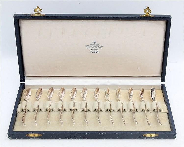 Twelve silver mocca spoons. Schoonhoven, 1966. In presentation b