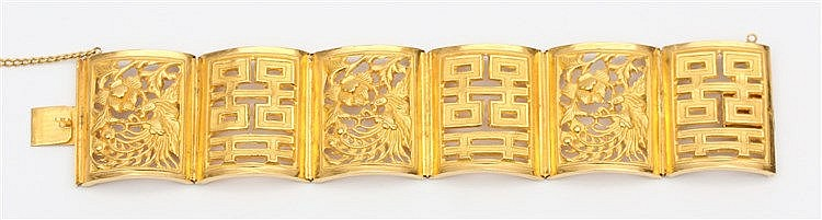 Yellow gold bracelet, Chinese. Weight 33.4 gram. Lengte 16 cm. B