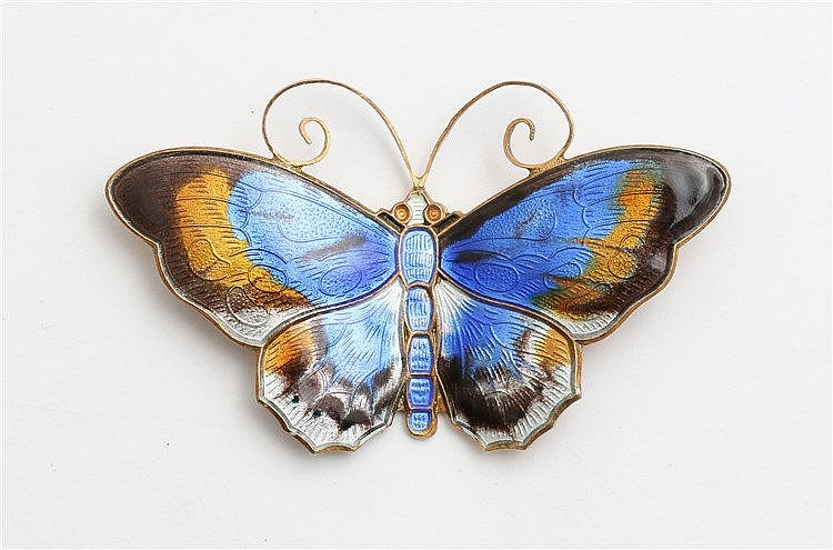 Gilt silver brooch, Butterfly by David Andersen, Norway. With t