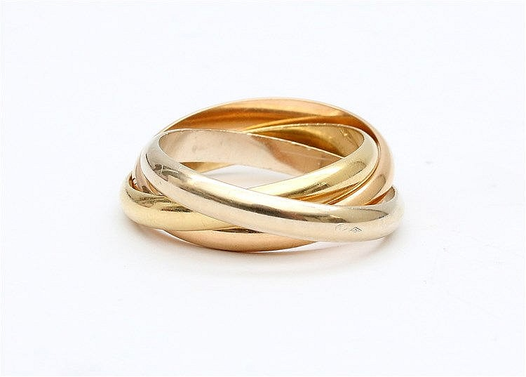 Cartier trinity ring. Yellow, white and rose gold, 18 krt. Wei