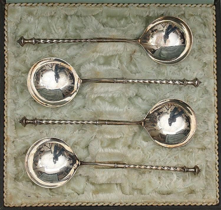 Four silver bouillon spoons by Van Kempen & Zn., Voorschoten, c