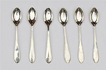 Six silver teaspoons by Pieter Boonhoff, Waspik, 1830.